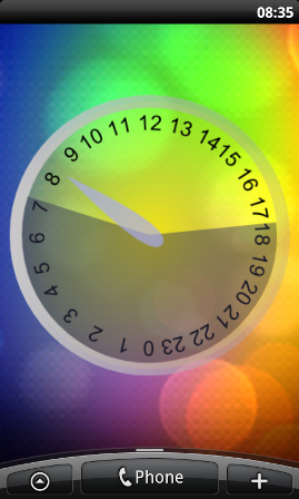 Screenshot of large Daylight Clock widget on an HTC Desire